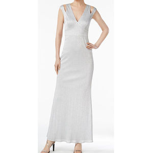 Calvin Klein Silver Metalic Sheath Formal Gown 6